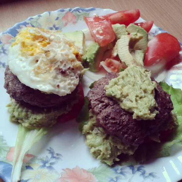 paleo burger with guacamole